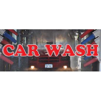 "Car Wash Banner Size: 30"" H x 72"" W x 0.25"" D"