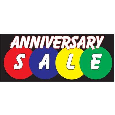 "Anniversary Sale Banner Size: 30"" H x 72"" W x 0.25"" D"