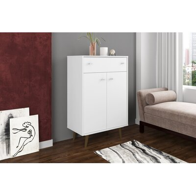 Lewis 1 Drawer Accent Cabinet Color: White