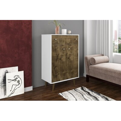 Lewis 1 Drawer Accent Cabinet Color: White/Rustic Brown