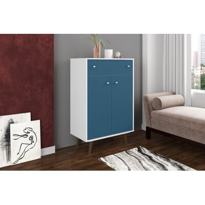 Lewis 1 Drawer Accent Cabinet Color: White/Aqua Blue