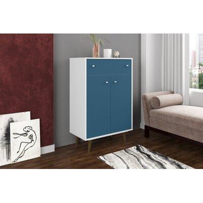 Lewis 1 Drawer Accent Cabinet Color: White/Aqua Blue