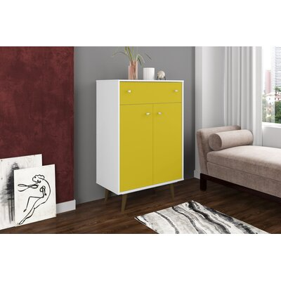 Lewis 1 Drawer Accent Cabinet Color: White/Yellow