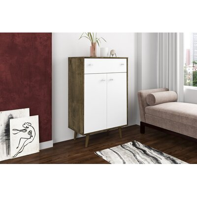 Lewis 1 Drawer Accent Cabinet Color: Rustic Brown/White