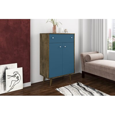 Lewis 1 Drawer Accent Cabinet Color: Rustic Brown/Aqua Blue