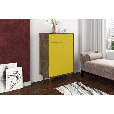 Lewis 1 Drawer Accent Cabinet Color: Rustic Brown/Yellow