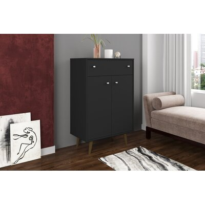 Lewis 1 Drawer Accent Cabinet Color: Black