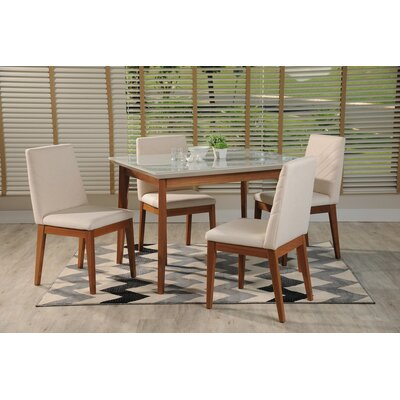 Tedeschi 5 Piece Dining Set Table Top Color: Off White/Beige