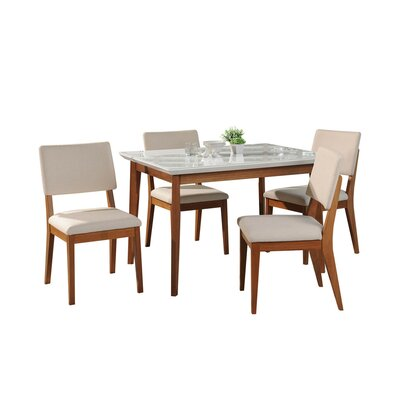 Tedeschi 5 Piece Dining Set Table Top Color: White Gloss/Beige