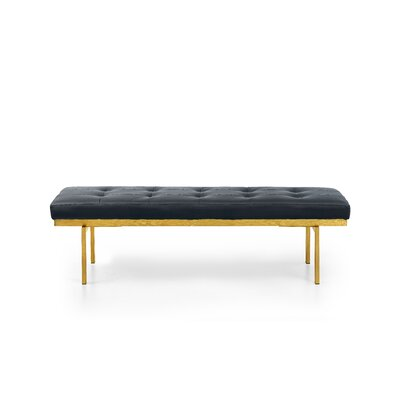Lawncrest Upholstered Bench Upholstery: Black