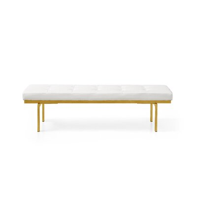 Lawncrest Upholstered Bench Upholstery: White