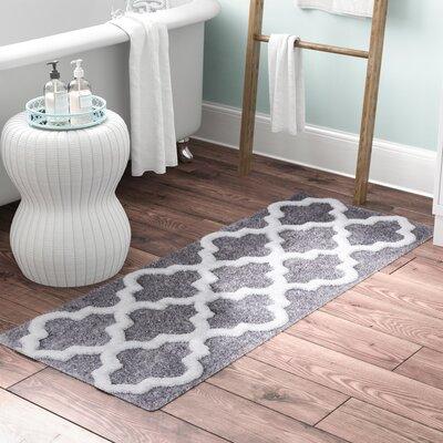 Godmanchester Trellis Cotton Bath Mat Color: Silver