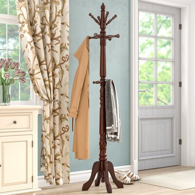 Traditional Rubber Wood Coat Rack Color: Cherry