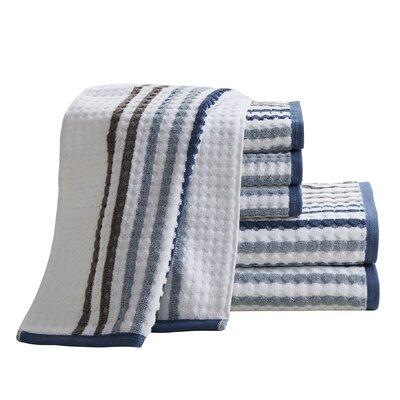 Landover 6 Piece 100% Cotton Towel Set Color: Navy