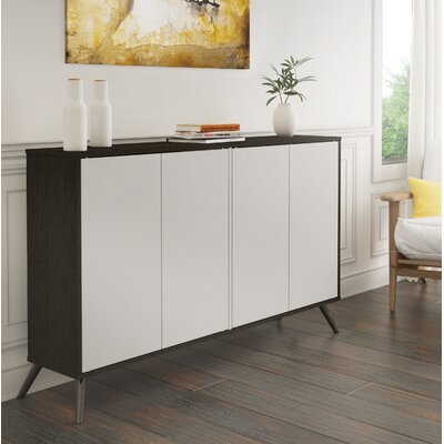 Daleville 4 Door Accent Cabinet Color: Deep Gray/White