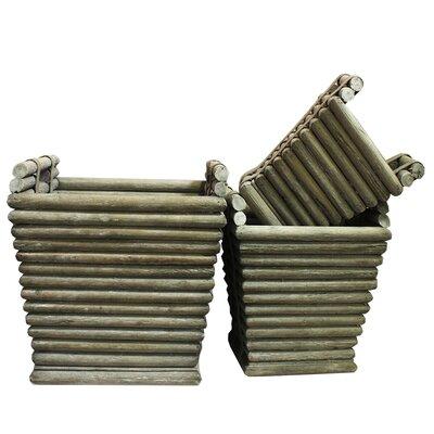 Routh 3 Piece Wood Pot Planter Set