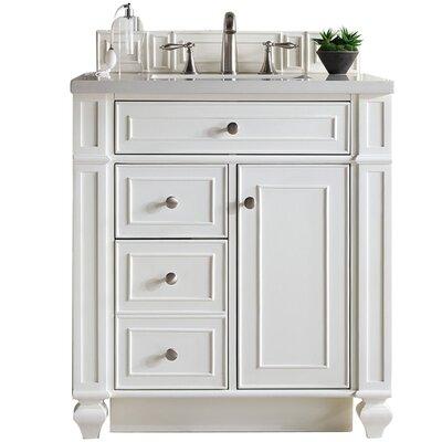 "Lambrecht 30"" Single Cottage White Quartz Bathroom Vanity Set"