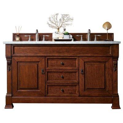 "Bedrock 60"" Double Bathroom Vanity Set Top Finish: Carrara White, Base Finish: Warm Cherry"