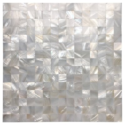 "0.8"" x 0.8"" Seashell Mosaic Tile in White Opal"