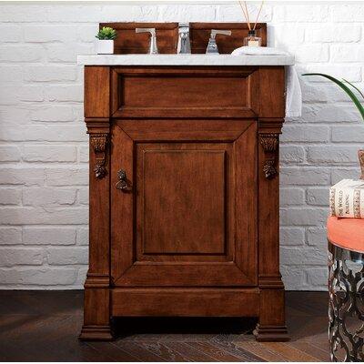 "Bedrock 26"" Single Bathroom Vanity Set Top Finish: Carrara White, Base Finish: Warm Cherry"