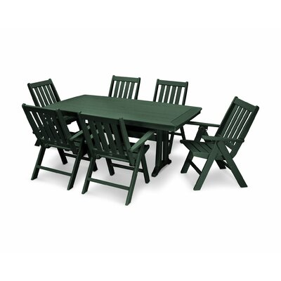 Vineyard Nautical Trestle 7 Piece Dining Set Color: Green