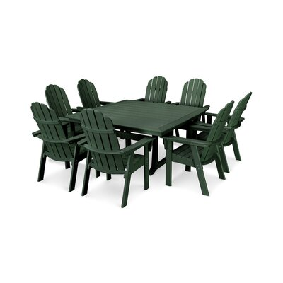 Vineyard Adirondack Nautical Trestle 9 Piece Dining Set Chair Color: Green, Table Color: Green