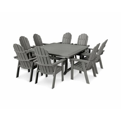 Vineyard Adirondack Nautical Trestle 9 Piece Dining Set Chair Color: Slate Gray, Table Color: Slate Gray