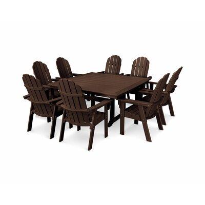 Vineyard Adirondack Nautical Trestle 9 Piece Dining Set Chair Color: Mahogany, Table Color: Mahogany
