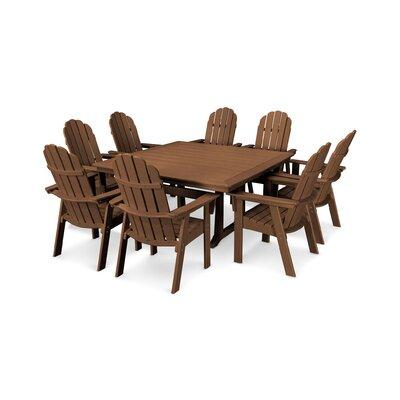 Vineyard Adirondack Nautical Trestle 9 Piece Dining Set Chair Color: Teak, Table Color: Teak