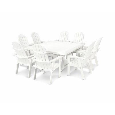 Vineyard Adirondack Nautical Trestle 9 Piece Dining Set Chair Color: White, Table Color: White