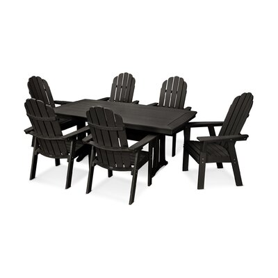 Vineyard Adirondack Nautical Trestle 7 Piece Dining Set Chair Color: Black, Table Color: Black