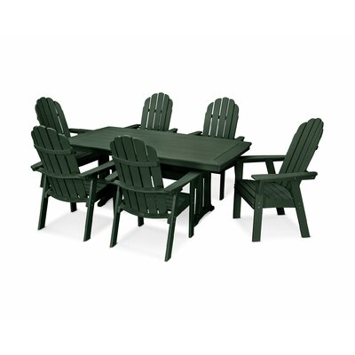 Vineyard Adirondack Nautical Trestle 7 Piece Dining Set Chair Color: Green, Table Color: Green