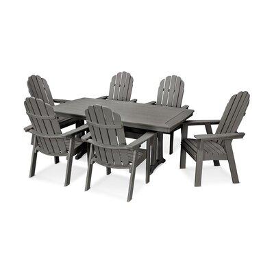 Vineyard Adirondack Nautical Trestle 7 Piece Dining Set Chair Color: Slate Gray, Table Color: Slate Gray