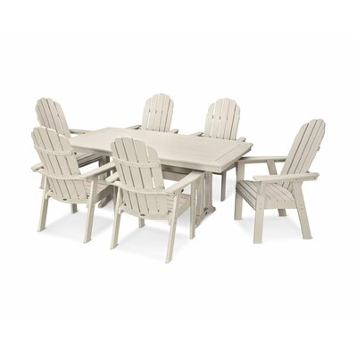 Vineyard Adirondack Nautical Trestle 7 Piece Dining Set Chair Color: Sand, Table Color: Sand