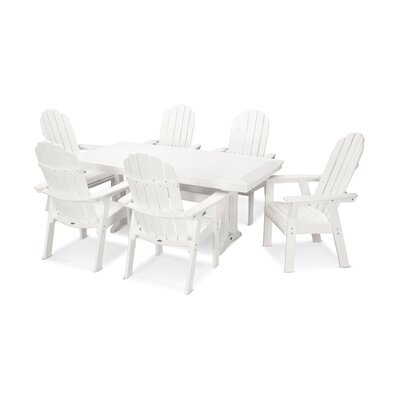 Vineyard Adirondack Nautical Trestle 7 Piece Dining Set Chair Color: White, Table Color: White