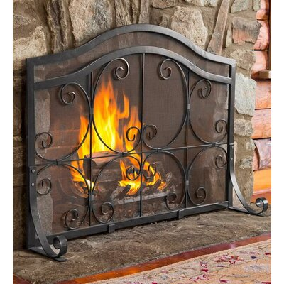 """Single Panel Fireplace Screen Finish: Pewter, Size: 31"""" H x 38.5"""" W x 13"""" D"""