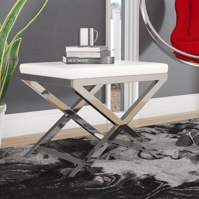 Bittle Accent Stool Frame Color: Gold, Seat Color: White