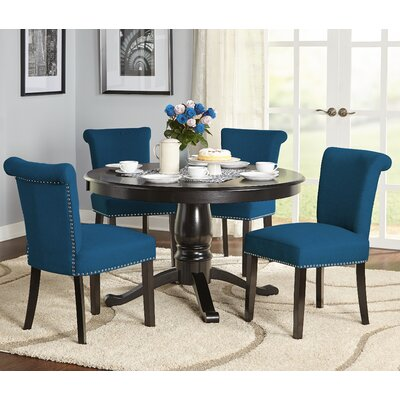 Hubler 5 Piece Dining Set Chair Color: Turquoise