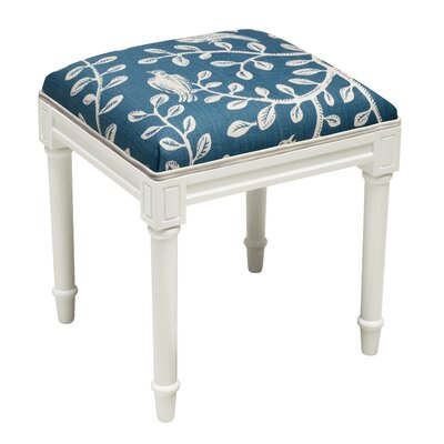 Birds on Vines Vanity Stool Frame Color/ Top Color: White/Navy Blue