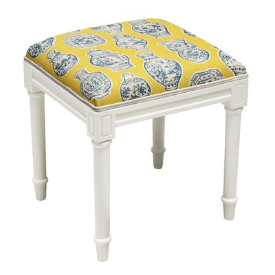 Gillman Porcelain Vanity Stool Seat Color: Blue/Yellow