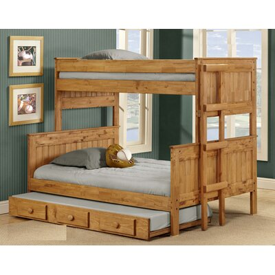 Arrellano Stackable Bunk Bed with Trundle Bed Frame Color: Ginger, Size: Twin