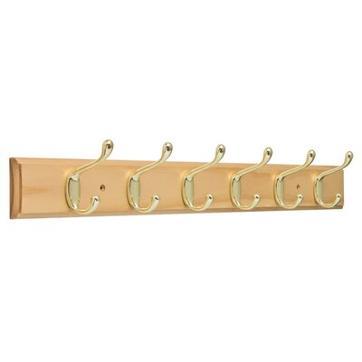 Quinto Heavy Duty Wall Mounted Coat Rack Color: Lacquered Pine/Brass