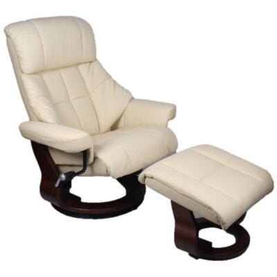 Bergamo Manual Swivel Recliner with Ottoman Upholstery: Premium - Chocolate