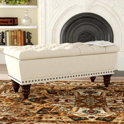 "Bromberg Upholstered Bench Color: Beige, Size: 17.75"" H x 42.25"" W x 17"" D"