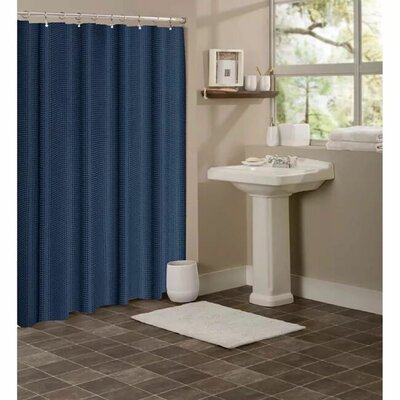 Winnifred Waffle Weave Textured Fabric Shower Curtain Color: Navy