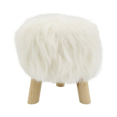 Ortegon Mane Attraction Faux Fur Accent Stool Seat Color: Ivory