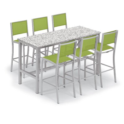 Travira 7 Piece Bar Height Dining Set Color: Lite-Core Ash, Accessory Color: Go Green Sling