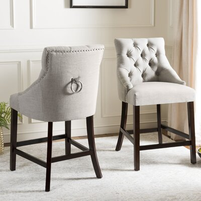 "Ayansh 26"" Bar Stool Upholstery: Linen-Light Gray"