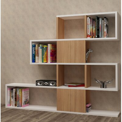 Huseman Cube Unit Bookcase Color: White/Teak