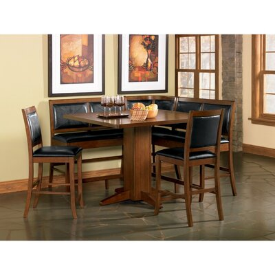Babbey Counter Height Dining Corner Leather Bench